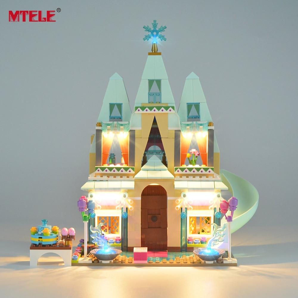 MTELE ապրանքանիշը լուսավորվում է լույս Disney- ի Arendelle Castle տոնակատարության համար Շենքի բլոկների լուսավորման հավաքածուն համատեղելի է մոդելի 41068- ի հետ