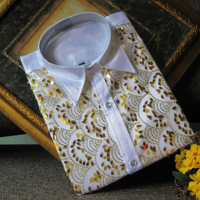 2017 Autumn white gold paillette wedding male shirt costume decoration  The singer's clothing