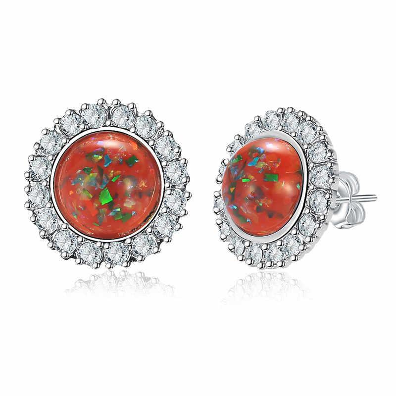 ... Created White Fire Opal Cubic Zirconia Silver Plated Earrings Wholesale  Retail Women Jewelry Stud Earrings 12mm ... 736d1a9057f4