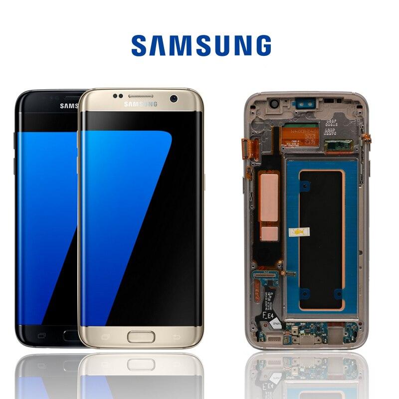 D'ORIGINE SUPER AMOLED 5.5 ''Remplacement pour SAMSUNG Galaxy s7 bord G935 G935F LCD Affichage Digitizer Écran Tactile Avec Cadre