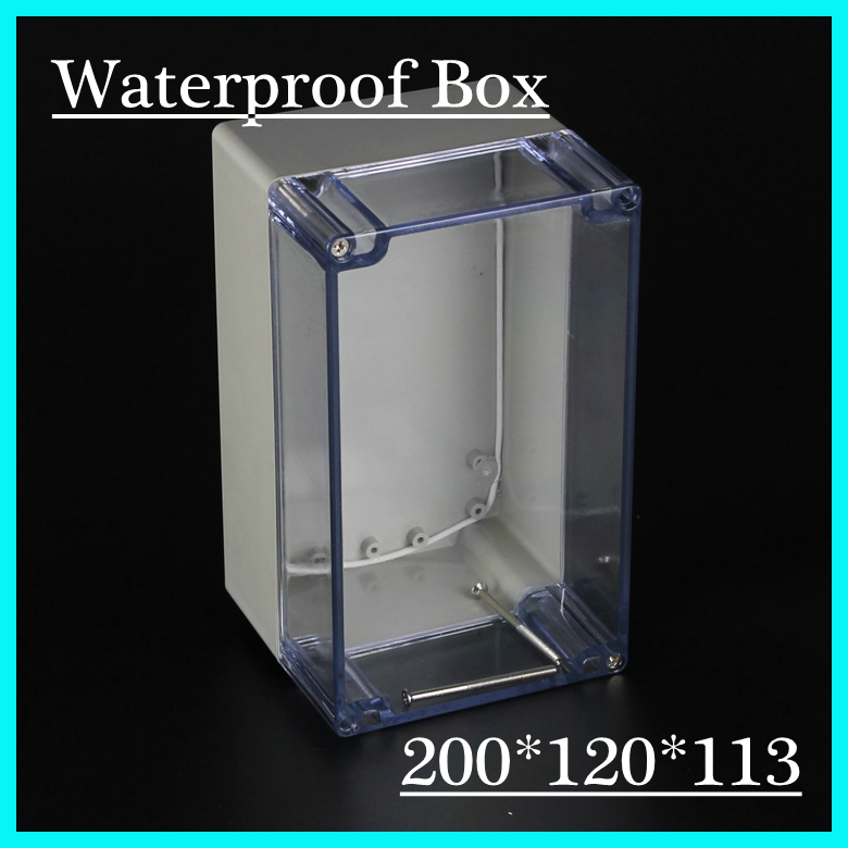 (1 piece/lot) 200*120*113mm Clear ABS Plastic IP65 Waterproof Enclosure PVC Junction Box Electronic Project Instrument Case цена