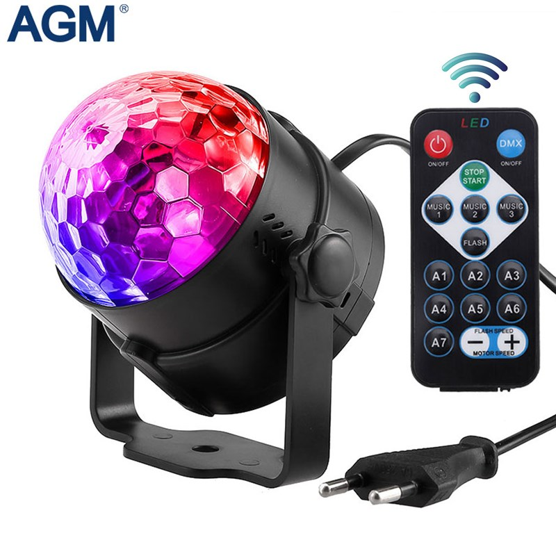 AGM RGB Disco Ball LED Stage Lighting Lumiere DJ DMX Laser Christmas Lights Projector Party Lamp Sound Light Show Strobe Effects mini rgb 9w water ripples linght led stage lamp dj ktv disco laser light party lights remote control christmas projector