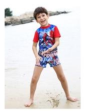 Super boys bathing suit Spider Hero children's Swimwear Kid Short Sleeve Shirt &Elastic Boyleg Shorts Two-Piece Swimsuit