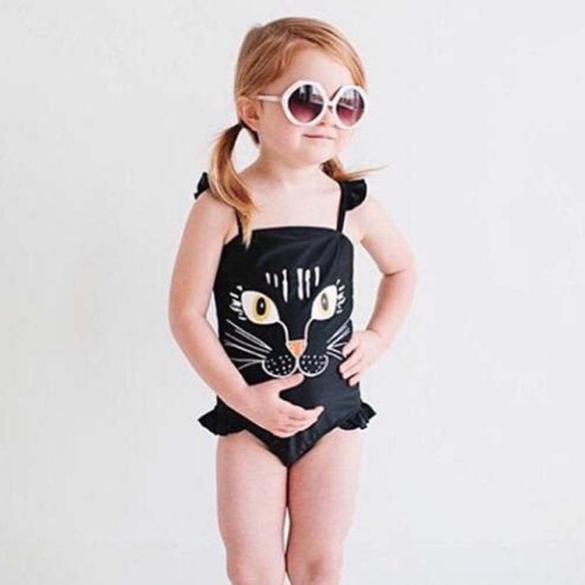 Baby Girls Sling swimsuit HOT Sling Swimsuit Little Girl One Piece Cartoon Cat Print Bikini Swimsuit Beachwear