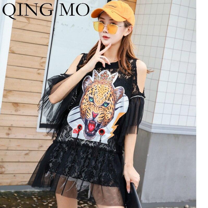 QING MO femmes tigre imprimé t-shirt femmes hors épaule Flare manches t-shirt femmes dentelle évider t-shirt 2019 ZQY748