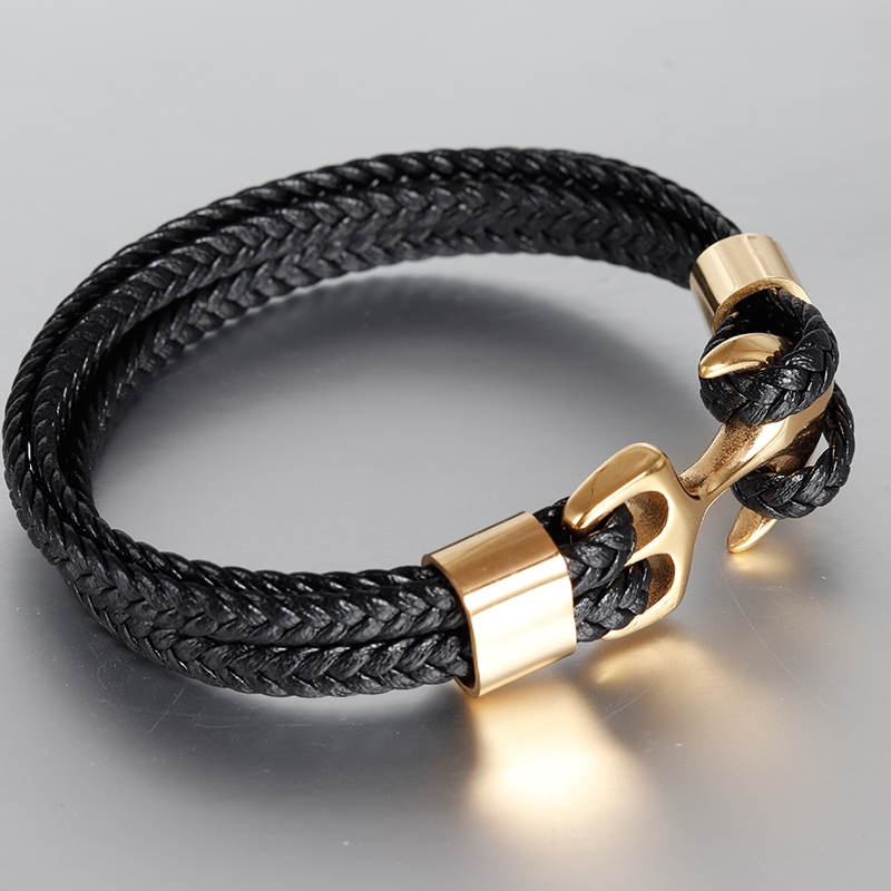 Classic Gold Genuine Leather Anchor Stainless Clasp Black Braid Genuine Leather Bracelet Men Jewelry Stainless Steel Bangle