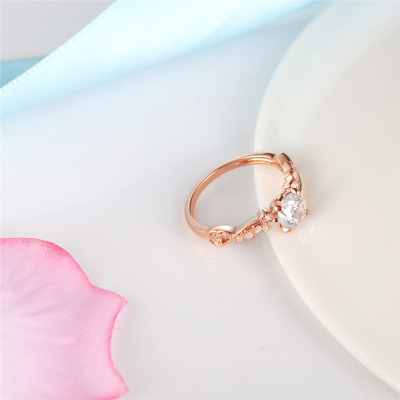 2018 New Rose Gold Color Rings Fashion Retro Flower Cubic Zirconia Engagement Thin Ring Jewelry For Women Dropshipping 3