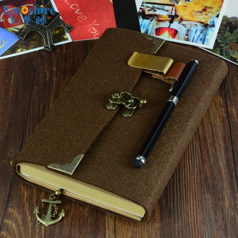 Handmade 19.5cm*13cm Felt Notebook Loose-leaf Vintage Notebook Retro Notepad Business Diary Vintage Stationery for Business N077 недорго, оригинальная цена