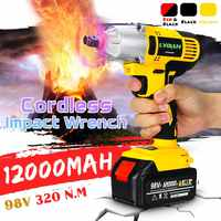 110-240V 320Nm 12000mAH 98VF Electric Impact Wrench Cordless Electric Wrench Brush with 1x Li-ion Battery Power Tools