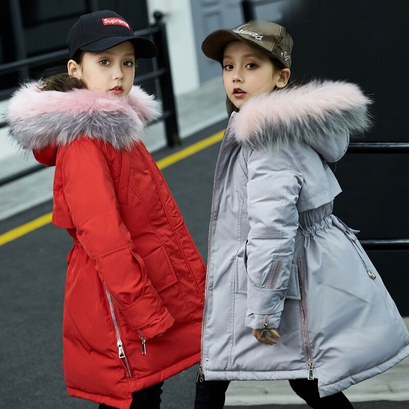 2018 Kids Girls Winter Coat Down Parkas With Fur Collar Warm Girl Hooded Long Jackets For Children Snowsuit Girls Down Jackets fashion girls winter down coat teenagers long down thick warm coat parkas fur collar hooded jackets clothing children snowsuit