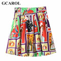 GCAROL 2017 Character Printed Ball Gown Skirt Polyester Lining  Colorful Fresh Spring Summer Above Kneel Length Skirt