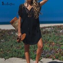 أسود القطن الشاطئ التستر الدانتيل الخامس الرقبة بيكيني التستر فساتين Pareos de Playa Mujer السباحة التستر Vestidos Playa Sarong