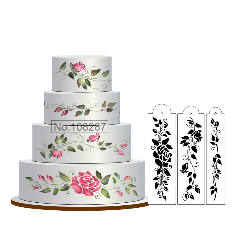 Rose Cake Stencil Set, Flowers Cake Stenciling, Fondant Decorating Stencil, Classic Cake Side Decoration,Stencils for Wall
