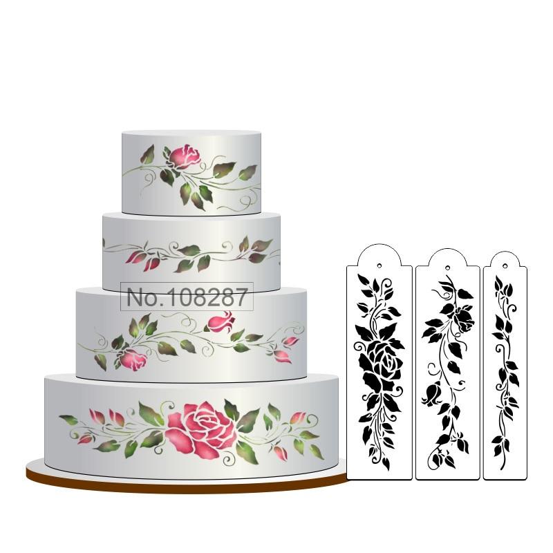 Rose Stencil Cake Set, Stenciling Kek Bunga, Fondant Decorating Stencil, Dekorasi Hiasan Kek Klasik, Stensils for Wall