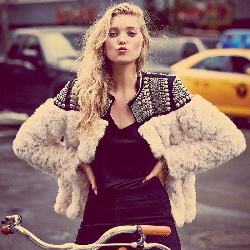 976d3785f4 Free Shipping Women s Fur Coat Short Design Patchwork Fashion Fur Outerwear  Beige Color Fur Coat Women Jacket