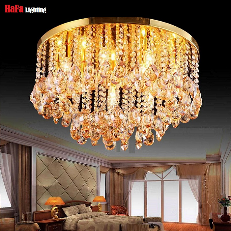 Image 3 - Round Crystal Ceiling Light For Living Room Indoor Lamp luminaria home decoration Crystal Ceiling Light Fixtures For Bedroom-in Ceiling Lights from Lights & Lighting