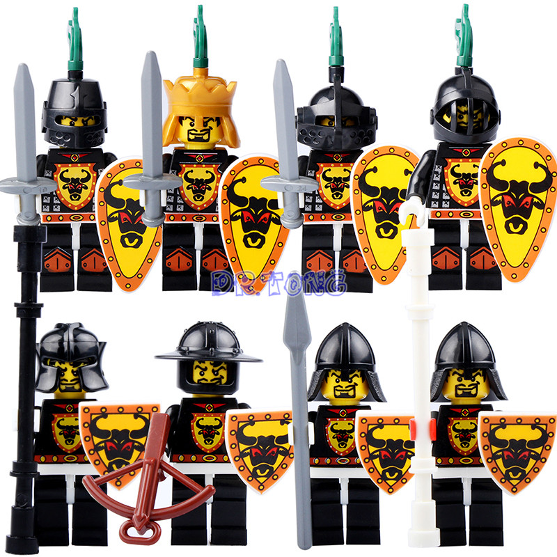 DR.TONG Building Blocks King Knight Medieval Castle Armor Heavy Knight with Weapons Figures Bricks Children Toys 9807 21pcs lot medieval castle knights the lord of the rings mini building blocks brick toys armor the hobbit gladiatus figures