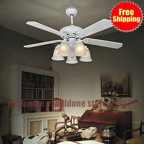 Free Shipping Contemporary Metal Hugger Ceiling Fan Lights With 5 White