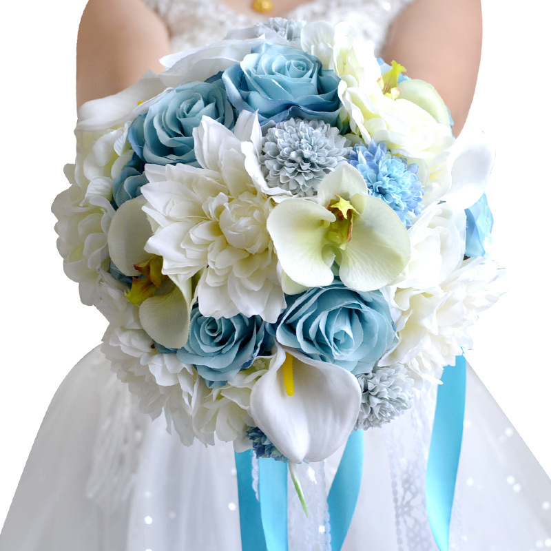 Ramos De Novia Bunga Mawar Biru Putih Pernikahan Dengan Pita Buatan Buatan Buatan Buatan Buatan Buket Pengantin Buque De Noiva Karangan Bunga Pernikahan Aliexpress