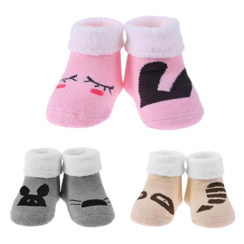 Hot sale newborn winter wear baby socks with rubber soles cute cartoon baby