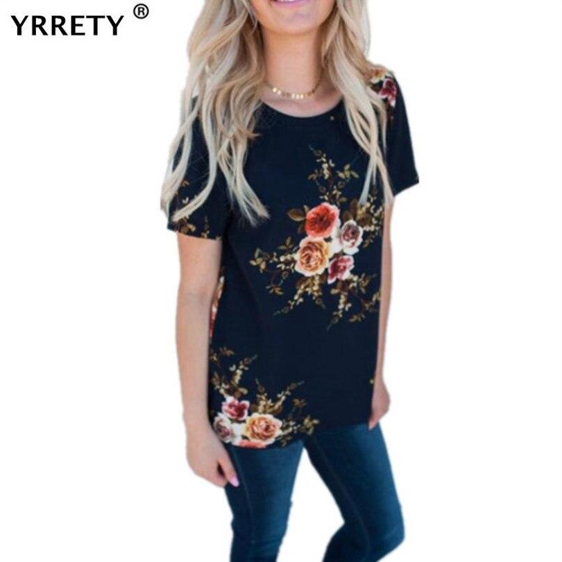 YRRETY Summer Office Flower Print Chiffon Blouse Women Short Sleeve Shirt Casual Tops Style Blouses Shirts Female Plus Size XXXL