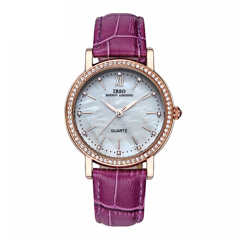 IBSO 2018 Brand Fashion Watches Woman Genuine Leather Strap Luxury Crystal Diamond Shell Dial Quartz Watches For ladies 3992 цена 2017