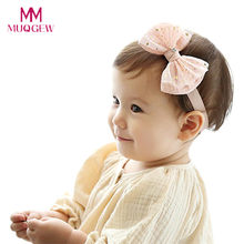 Baby Kids Girls Bow Hairband Headband Turban Knot Head Wraps Lovely Newborn Children Headwear Accessories bandeau bebe Pink(China)