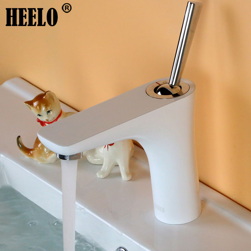 Single lever Brass bathroom faucets square wash basin faucet vanity mixer chrome and white