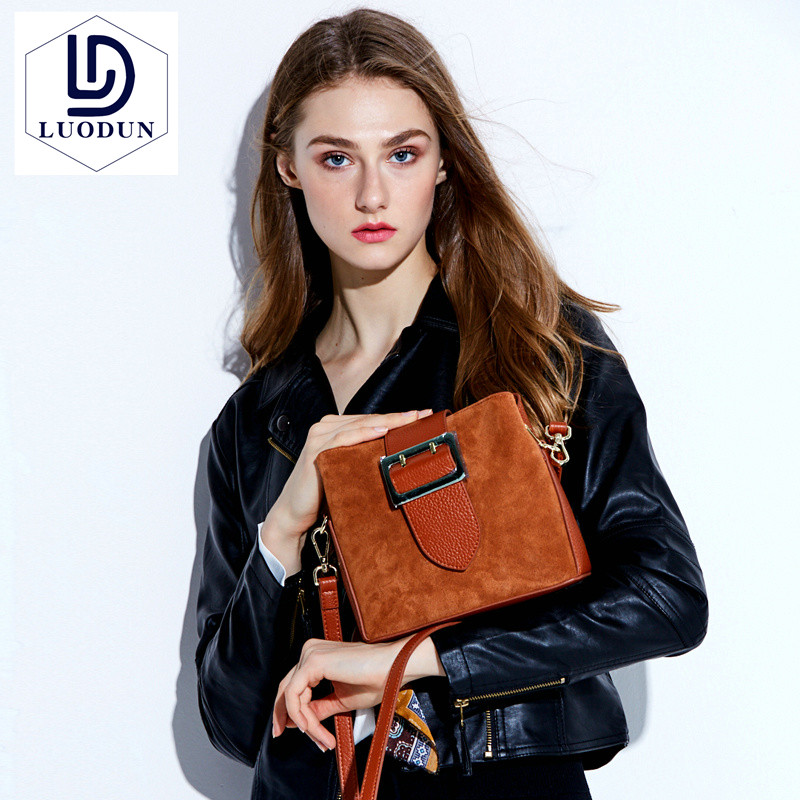 LUODUN 2018 new matte handbags new tide bucket the first layer of leather European and American fashion shoulder Messenger bag цена