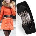 Мода зима женщина пуховик черный красный резинка кожа лоскутное широкий поясной ремень, Кристаллы и стразы натяжные ремни для женщин