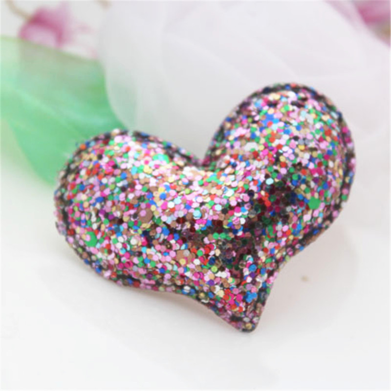 Free Shipping Glitter Powder Love Heart for Christmas Tree Decoration 50PCS Handmade Girls Bow Center Decor Material Crafts