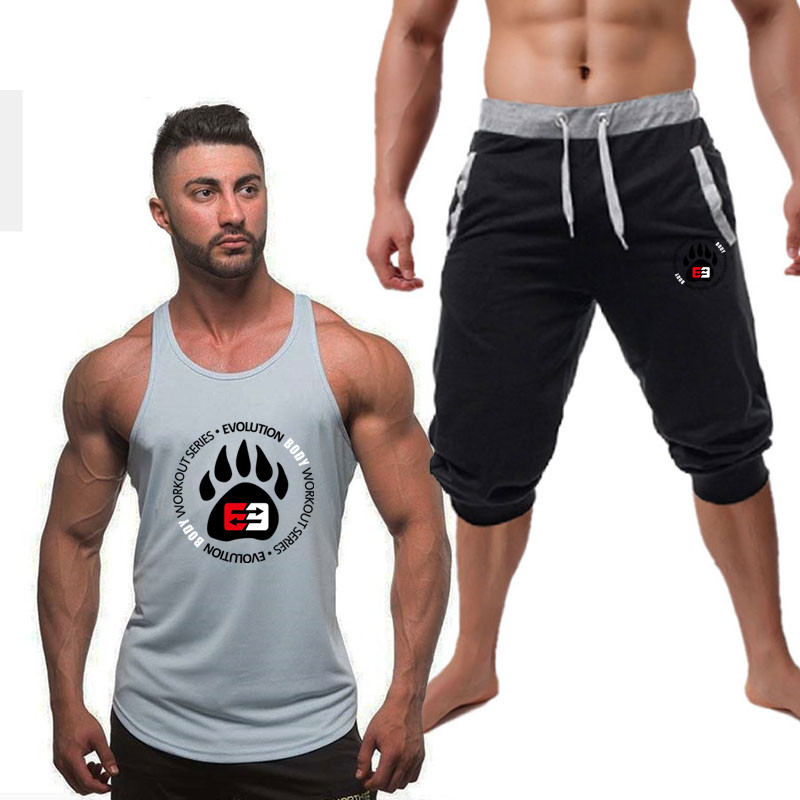 Gym Sportsuits Set Men Brand Fitness Suits 2019Summer Top Short Set Mens Stand Round Fashion 2 Pieces Tank Top Shorts Tracksuit