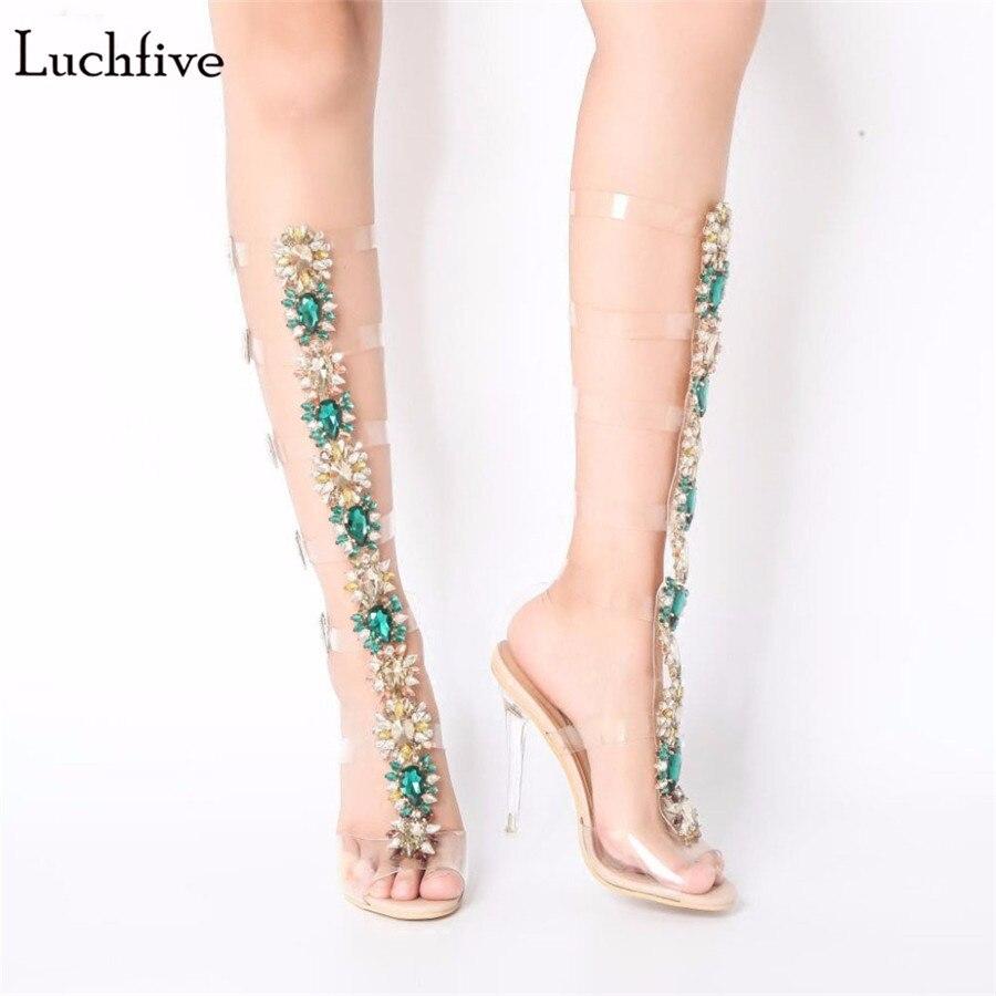 цена на Luchfive Classic Kim Kardashian PVC Transparent Sandals Women Crystal Clear thin high Heel rhinestone sexy Summer long boots
