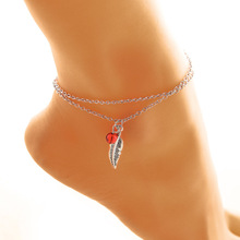 2017 Women Bohemia Crystal Anklet Chain Jewelry Vacation Beach Anklets Bracelet Sexy Feather Pendant Leg Chain Fussketten P0.1