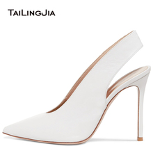цена Pointed Toe High Heel Slingbacks Women White Elegant Heeled Pumps Bridal Wedding Dress Shoes Ladies Summer Heels Big Size 2018 онлайн в 2017 году