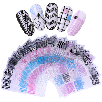 3D Nail Sticker Transfer Decals Self Adhesive Stickers Geometric Heart Star Stripes Wave Nail Art Decals artificial nails