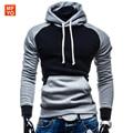 2016 Men Hoodies High Quality Casual Sweatshirt Patchwork Hoodied Men Long Sleeve Cotton Clothing  Pullover Big Pocket Coat