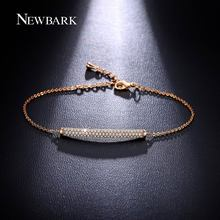 NEWBARK Charm Bar Slider Bracelet Brilliant Pave Top Quality CZ Women Adjustable Chain Bracelets Femme