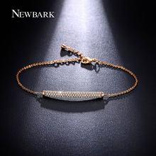 NEWBARK Charm Bar Slider Bracelets For Women Brilliant Pave Zirconia CZ Adjustable Rose Gold Color Chain