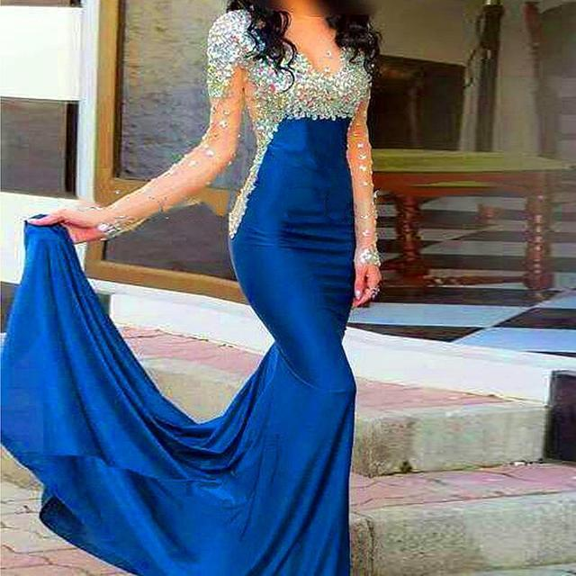 Vestido Formatura2016 Mermaid Long Sleeve High Collar Crystals Beaded  Sparkling Bling Prom Dresses Evening Party Gowns Long Hot 4070b5a81ab7