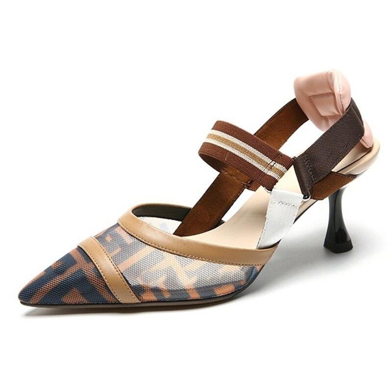 Nouveauté mode bas talon femmes sandales en cuir véritable bureau élégant sandales femmes respirant chaussures d'été femmes