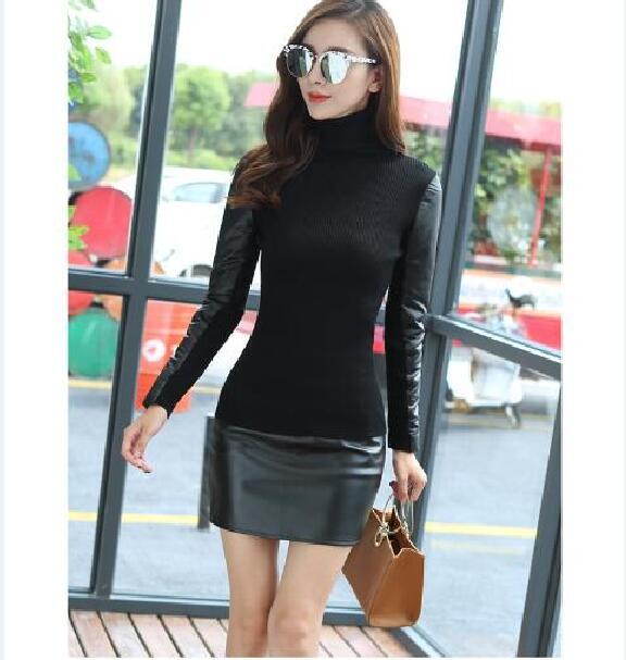 Patchwork Sweater Fashion High-Quality Women's New-Design Ladies Winter Turtleneck Slim