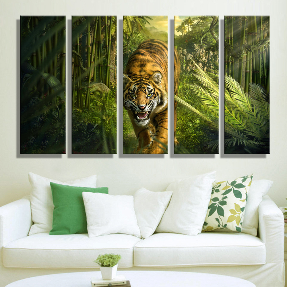 safari wall decor for living room painting canvas tiger in jungle wall decoration 24407