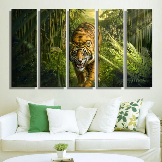 Oil Painting Canvas Tiger In Jungle Wall Art Decoration Home Decor On Modern