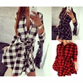 2016 Autumn women dress elegant check plaid vestidos ukraine winter casual sexy party club office evening mini shirt red dresses