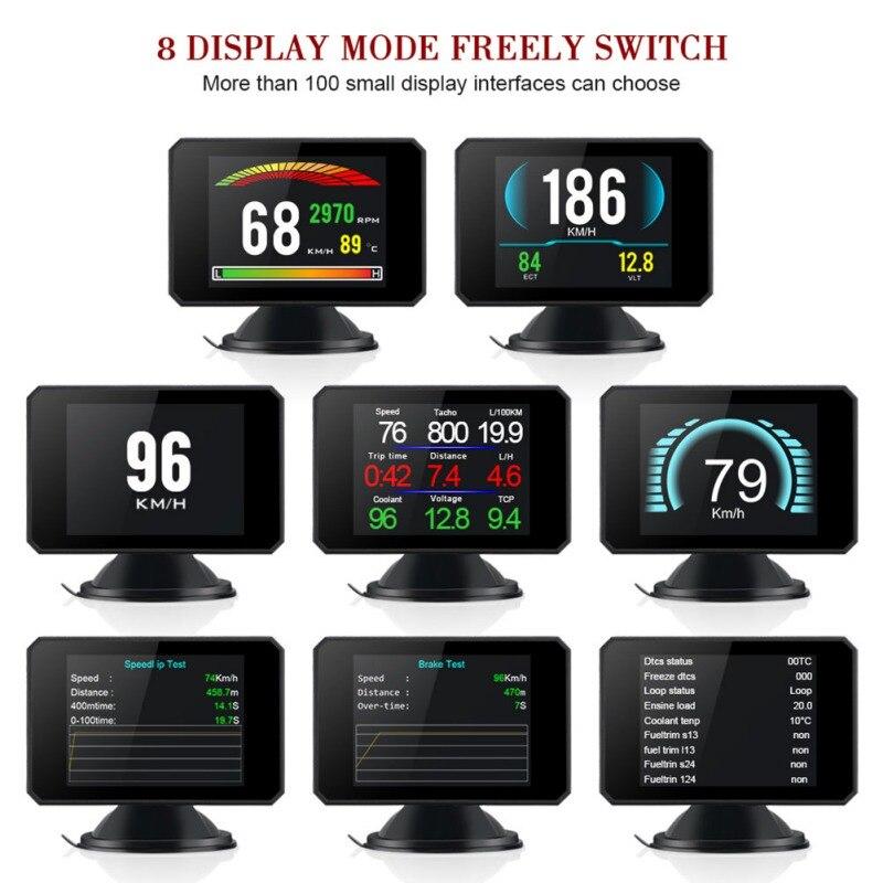 3 pouces LCD HUD Head Up Display Auto Intelligent Sur-ordinateur de bord De Voiture compteur de vitesse pour voiture Hud Affichage De Voiture Head Up Display