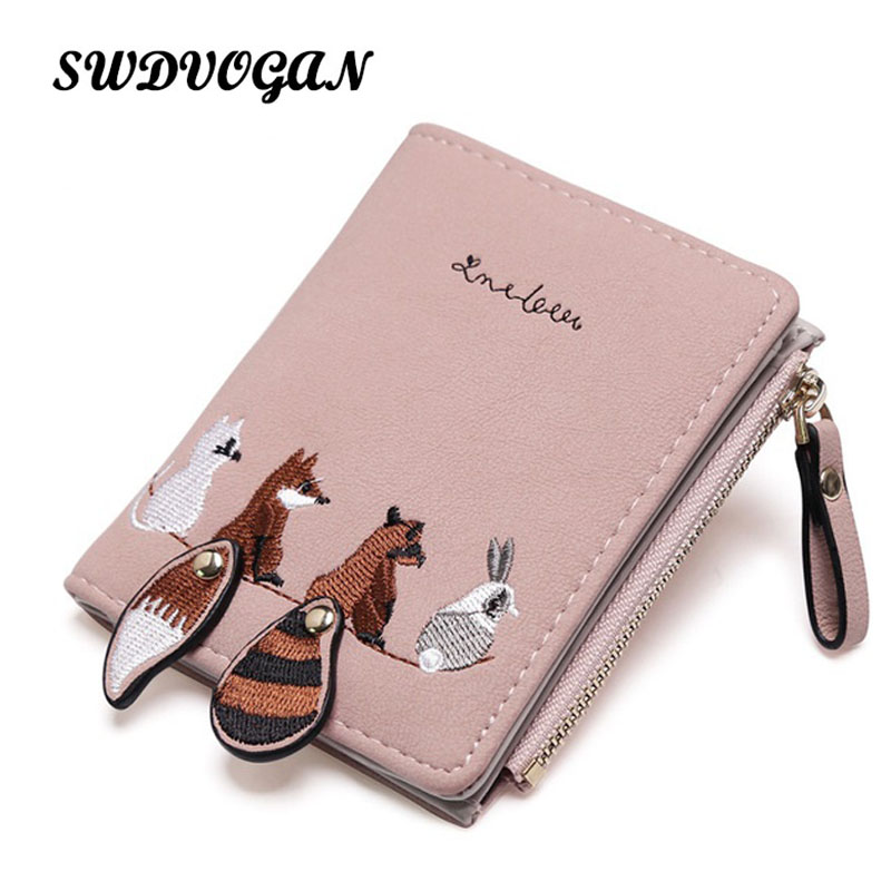 SW Leather Women Wallet Female Small Coin Purse Cartoon Printing Short Women Wallets Pocket Animal Portefeuille Femme for Girls minnie dots 4th birthday number minnie print tank top with white ruffles