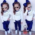 2015 New Arrival Children Sets Girl Ruffled sleeves shirt + trousers + Chain 3 piece suit Kids Summer clothes
