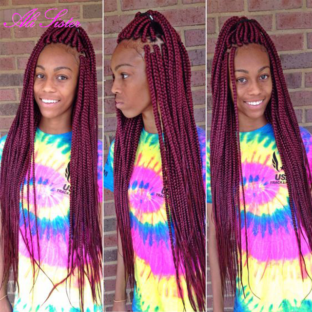 Long burgundy braiding hair box braids crochet braids hair extensions ...