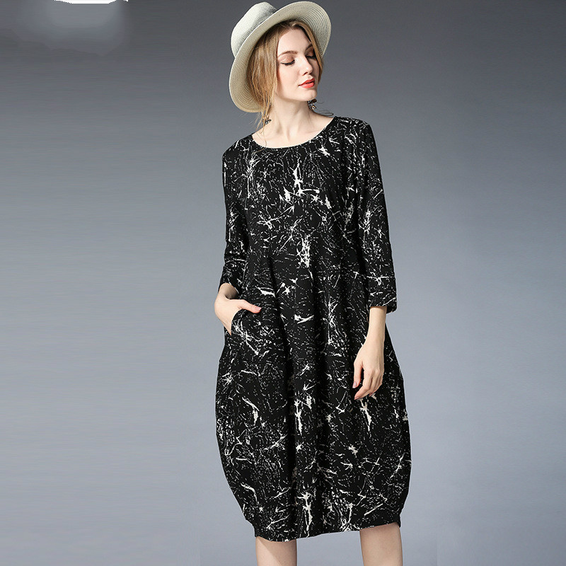 2018New Spring Europe And The United States Loose Maternity Dress Black Print Flower Pregnancy Clothes Fashion Maternity Dresses